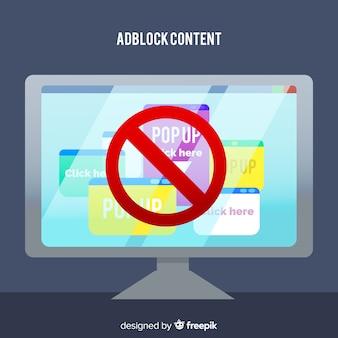 Conceito de conteúdo adblock