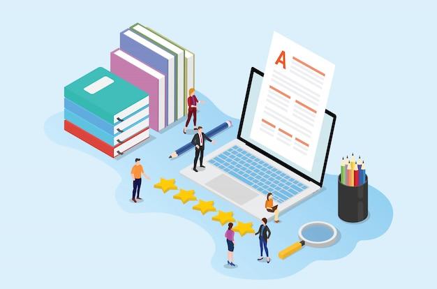 Conceito de conteúdo de alta qualidade com editor de pessoas de equipe com documentos em papel e livros de laptop