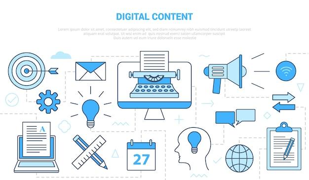 Conceito de conteúdo digital com banner de modelo de conjunto de ícones com ilustração moderna do estilo de cor azul