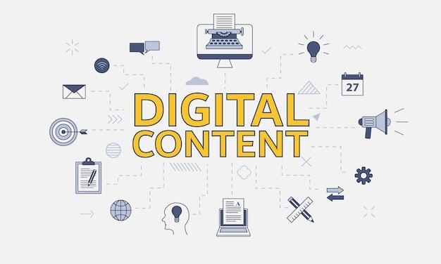 Conceito de conteúdo digital com conjunto de ícones com grande palavra ou texto na ilustração vetorial central