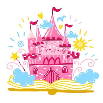 Conceito de conto de fadas com castelo