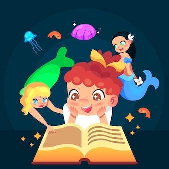 Conceito de conto de fadas com criança lendo