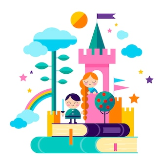 Conceito de conto de fadas com rapunzel