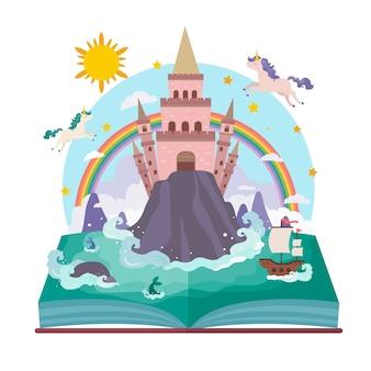 Conceito de conto de fadas com unicórnio e arco-íris