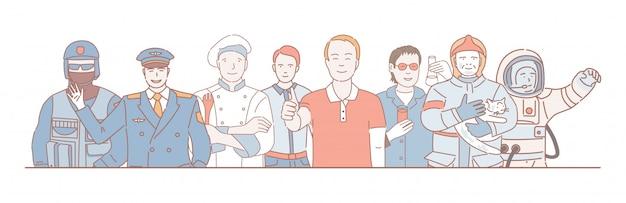 Conceito de contorno dos desenhos animados do dia do trabalho. policial, piloto, cozinheiro, trabalhador de escritório, químico, salva-vidas e astronauta.