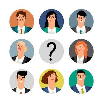 Conceito de contratação. avatares da equipe de negócios, mulheres e homens sorridentes.