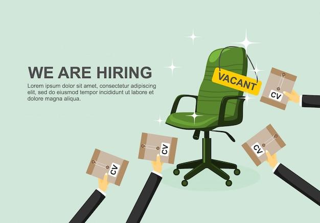 Conceito de contratação e recrutamento de negócios.