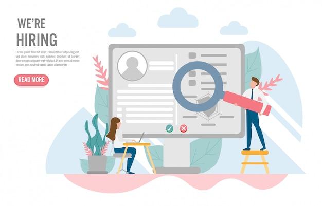 Conceito de contratação e recrutamento em design plano