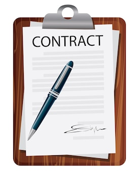 Conceito de contrato de assinatura de contrato. ilustração vetorial