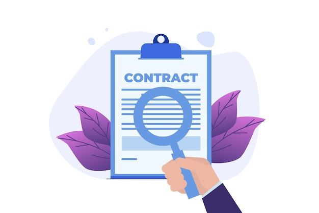 Conceito de contrato de negócios de preparação.