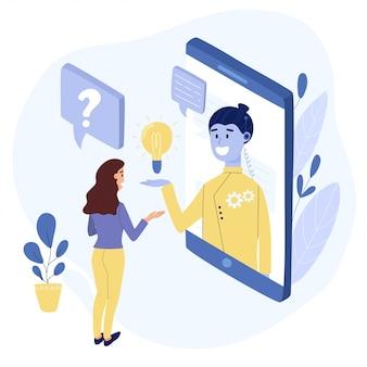 Conceito de conversa de chatbot. mulher falando com um bot de bate-papo através do telefone móvel