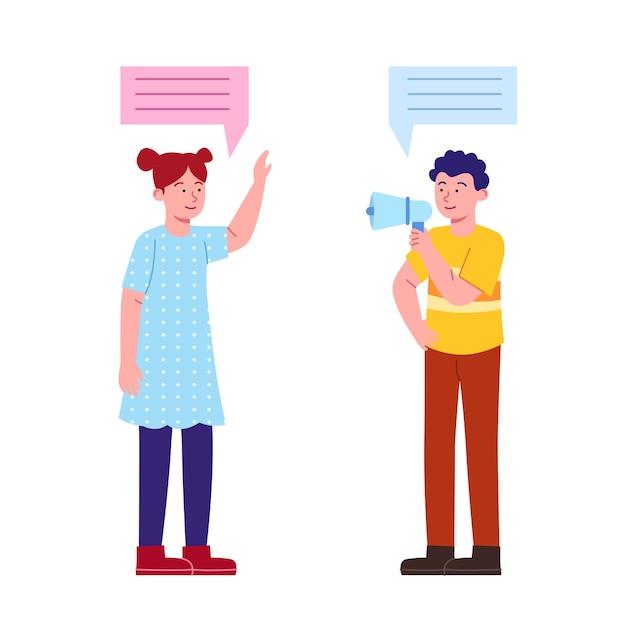 Conceito de conversa de duas crianças em design plano