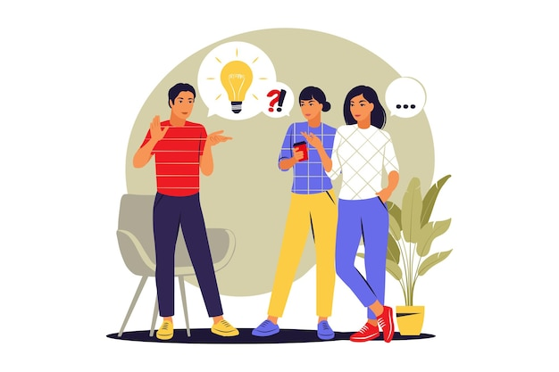 Conceito de conversa de pessoas. notícias de discussão, redes sociais. balões de fala de diálogo. ilustração vetorial. estilo simples