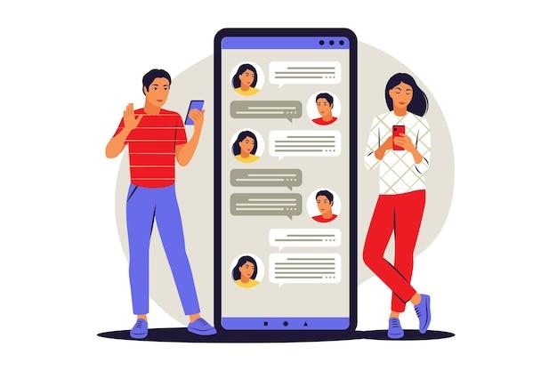 Conceito de conversa. homem e mulher conversando no chat. ilustração vetorial. plano.