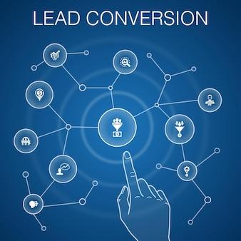 Conceito de conversão de chumbo, fundo azul. vendas, análise, cliente potencial, ícones de clientes