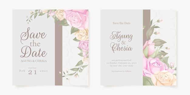 Conceito de convite de casamento floral elegante para postagem em mídia social