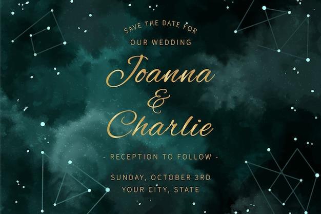 Conceito de convite de casamento galáxia aquarela