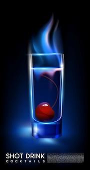 Conceito de copo de coquetel fiery hot shot