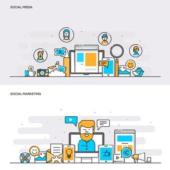Conceito de cor de linha plana - social media e social marketing - cor