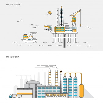 Conceito de cor de linha - plataforma de petróleo e refinaria