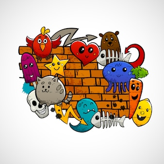 Conceito de cor plana de personagens de graffiti