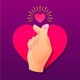 Conceito de coração dedo gradiente