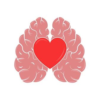 Conceito de coração e cérebro quociente emocional e inteligência ícone e logotipo