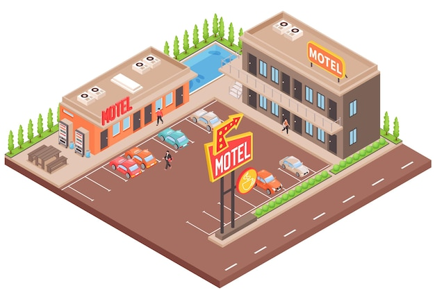 Conceito de cores de motel com estacionamento e piscina isométrica