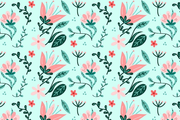 Conceito de cores pastel de pacote padrão floral