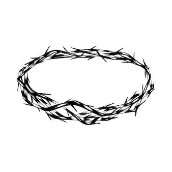 Conceito de coroa de espinhos desenhado à mão