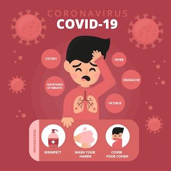 Conceito de coronavírus 2019-ncov pessoa com frio