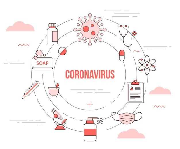 Conceito de coronavirus com conjunto de banner de modelo com estilo moderno de cor laranja