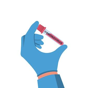 Conceito de coronavírus. doutor, segurando na mão o tubo de ensaio com uma análise ao sangue do paciente doente.