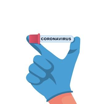 Conceito de coronavírus. doutor, segurando na mão o tubo de ensaio com uma análise ao sangue do paciente doente