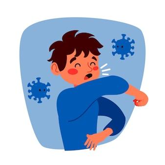 Conceito de coronavírus tosse homem