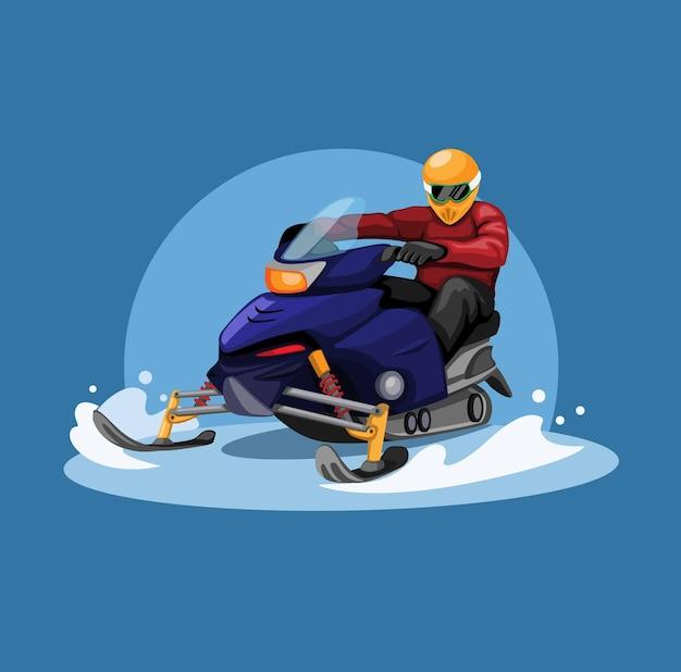 Conceito de corrida de snowmobile na temporada de inverno na ilustração dos desenhos animados