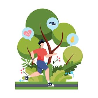 Conceito de corrida ou corrida de aptidão. ideia de vida saudável e ativa. melhoria imunológica e construção muscular.