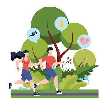 Conceito de corrida ou corrida de aptidão. ideia de vida saudável e ativa.