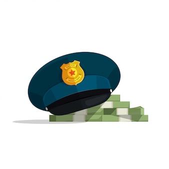 Conceito de corrupção financeira ou ilustração vetorial de suborno de lei