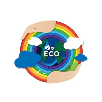 Conceito de corte de papel de eco com as mãos e a conservação do meio ambiente, dia da terra e meio ambiente mundial