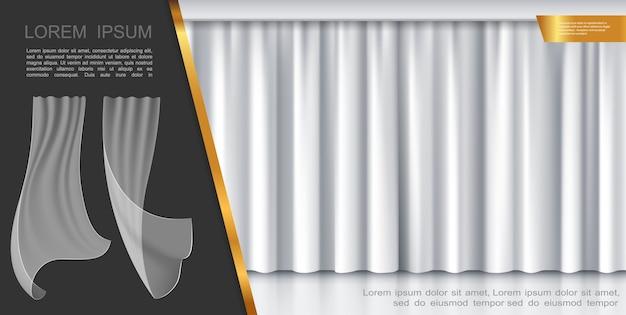 Conceito de cortinas brancas de palco fechado