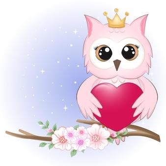 Conceito de coruja fofa e coração dos namorados