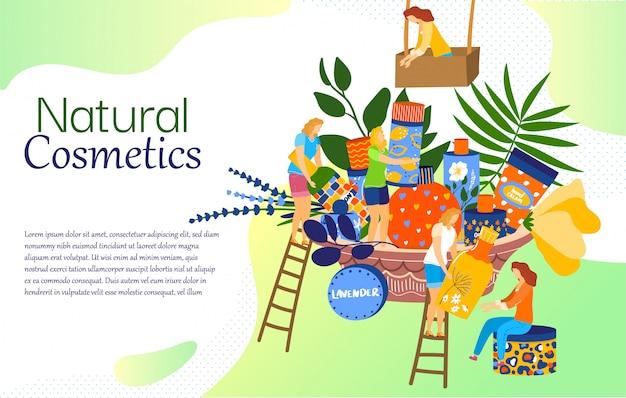 Conceito de cosméticos naturais, produtos para a pele da mulher, personagens de desenhos animados de pessoas pequenas, ilustração