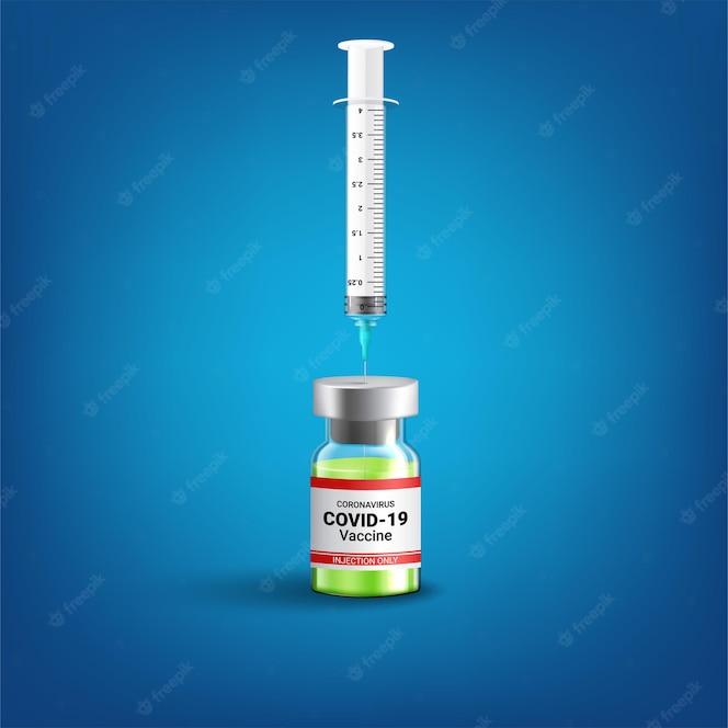 Conceito de Covid-19 Coronavirus. frasco e seringa de vacina