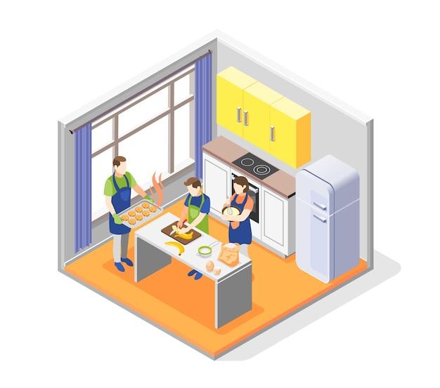 Conceito de cozinha em família com elementos culinários Vetor Premium