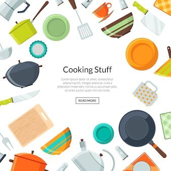 Conceito de cozinha. fundo de utensílios de cozinha de vetor