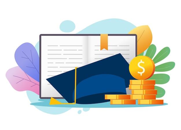 Conceito de crédito de empréstimo de dinheiro para educação ou custo de pós-graduação com bolsa de estudos, taxa financeira de mensalidade da faculdade