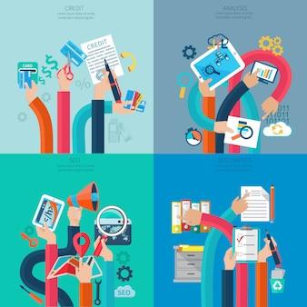 Conceito de crédito e análise de seo com mãos humanas segurando objetos de negócios