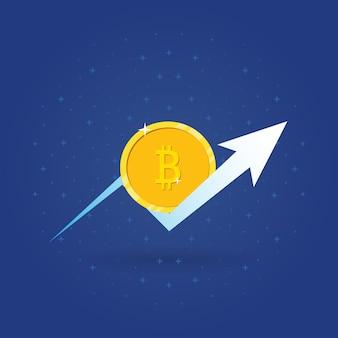 Conceito de crescimento de bitcoin btc com o símbolo de seta para cima no fundo do espaço.