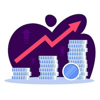 Conceito de crescimento de finanças empresariais. ideia de aumento de dinheiro